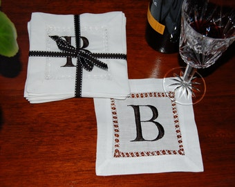 White Linen Monogrammed Cocktail Napkin