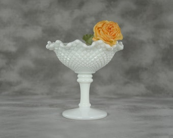Crimped Round Milk Glass Compote in the English Hobnail pattern signed by Westmoreland