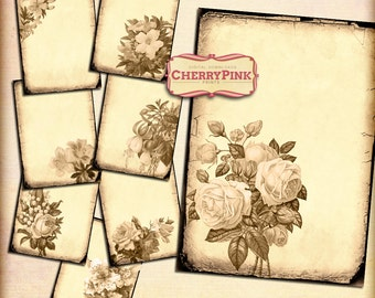 Digital Collage Sheet SEPIA FLOWERS, digital paper, digital download, scrapbook collage with flower illustrations