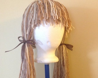 Handmade Crochet yarn Hat Hair wig,women, baby, kids,multi color hair, scarecrow wig, yarn hair, yarn wig, hat wig Halloween wig costume
