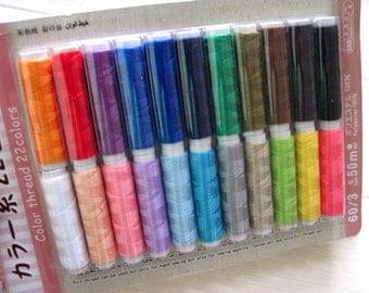 22Pcs Japan 20M 60/3 50m Different Colors 100% Polyester Sewing Machine Thread set