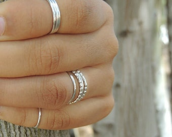 Thin Silver Ring - Dainty Knuckle Ring - Midi Ring - Finger Tip Ring - Little Tea Ring - XS Dainty - Memory Ring - Extra Thin - Plain - Slim