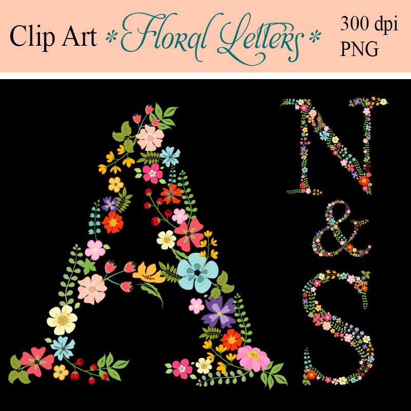 Shop Floral Monograms At Littlebrownnest Etsy Com: Monogram Floral Letters Digital Letters Clip Art Floral
