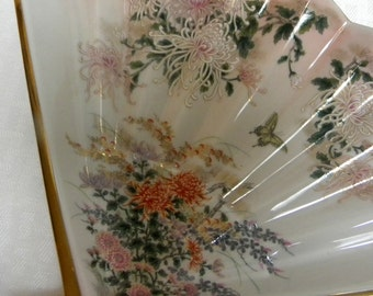 Kyoto fan dish porcelain with chrysanthemums and butterflies vintage
