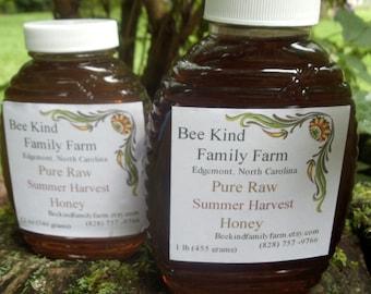 Pure Raw Honey Summer  Harvest  1-16 oz jar (1 lb) and 1- 12oz Jar