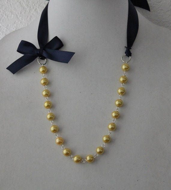 Yellow Pearl and Navy Blue Ribbon Bow Necklace