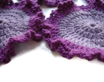 Set of 4 Crocheted Eco Friendly Washable Reusable Coasters Light Pink And Purple
