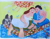 Custom order for Elena Original wedding  present for a marriage a painting of a Personalized Wedding Boat, acryl on paper