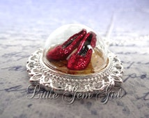 Ruby Red Slipper Wizard of Oz Necklace - Silver Victorian Wizard of Oz Jewelry Ruby Slippers on the Yellow Brick Road Glass Dome Necklace