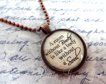 A room without books Necklace - Book Jewelry - Book Necklace or Keychain - Antique Copper Pendant - Library Teacher Gift