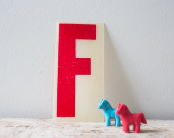 Vintage Letter F - Red Marquee Plastic Letter F Vintage Marquee Letter F