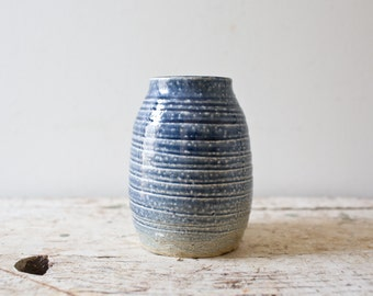 Vintage Ceramic Pottery - Blue Glazed Handmade Vase Container Handmade Pottery Vintage Pottery Vintage Vase