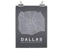 Dallas Neighborhood Map - White on Grey