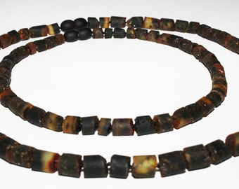 Baltic Amber Teething Necklaces for  Adult and Baby Black raw Baltic Amber