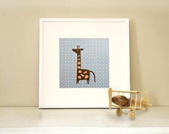 Modern Children's Paper Wall Art - Giraffe Standing Tall or Personalized - 12 x 12 - Blue and Brown or Custom Color