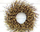COUNTRY CHIC YELLOW Twig Wreath-Summer Door Wreath-Fall Twig Wreath-Rustic Wreath-Yellow Home Decor-Scented Vanilla Sugar-Choose your Scent