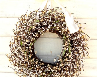 Wedding Decor-Fall Weddings-Winter Wedding Wreath-CREAM & WHITE  Wreath-Vintage Weddings -Scented Baked Apple Pie-Custom Made Wreaths