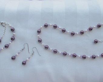 Wedding Jewelry Set Purple & Ivory Swarovski Pearls Crystals Bridesmaid Flower Girl Jewelry Set