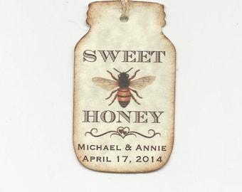 SWEET Honey BEE Personalized Handmade Tags-Wedding Wish Tags-Honey jar tags-Favor tags