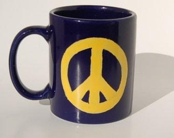 Cobalt Peace Sign Mug  Porcelain