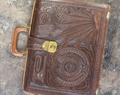 Tooled Leather Brief Case / Vintage Southwest Bag / Leather Attache