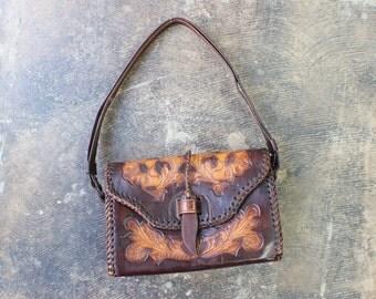 Leather Tooled Purse / 1960's Handbag / Mexico Leather Cross-Body Bag