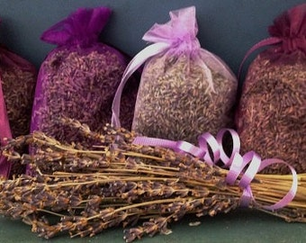 Lot of 4 EXTRA LARGE Lavender Sachets made W/ organza bags, shades of lavender/purple Fragrant lavender bags