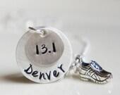 Marathon Runners necklace 13.1 26.2 running shoe sneaker marathon athlete jogger jewelry personalized
