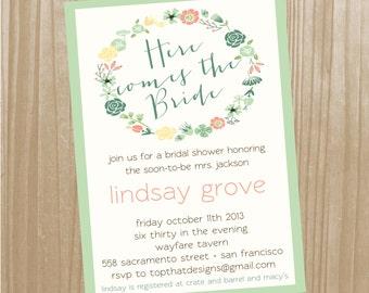 Floral Bridal Shower or Baby Shower Invitation- Digital