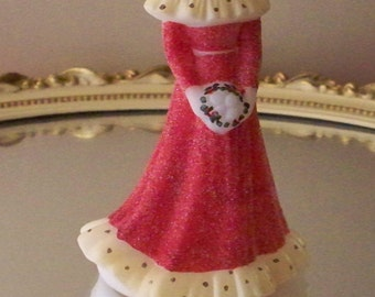 Fenton  Bridesmaid Doll Red Christmas Dress Hand Decorated Glass Doll Figurine  Christmas  Gift Wedding Gift