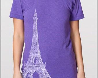 Eiffel Tower  Men's Women's Unisex T shirt Vintage Paris Print - American Apparel Tshirt Tee