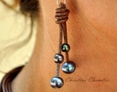 Freshwater Pearls and Leather Earrings -  Brown Peacock Pearl Earrings - Pearl and Leather Jewelry Collection
