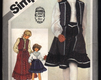 Vintage 1981 Gunne Sax Simplicity Child's Blouse, Quilted Vest and Skirt Pattern 5162 Size 4 UNCUT
