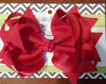 """Large 5"""" Boutique Red Hair Bow"""
