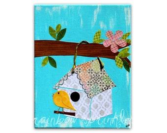 Children's Wall Art Print 8x10- bird, birdhouse, tree, Nursery Art, Nursery Room Decor, Girls Nursery Art, Girls Room Art, Kids Art