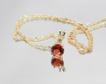 Oregon Sunstone  Necklace with diamond accents  #100