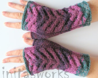 Fingerless Gloves Mittens wrist warmers Violet Purple Blue Burgundy Green knit