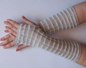 Long Wedding Gray White Bridal Gloves Lace Gloves Fingerless