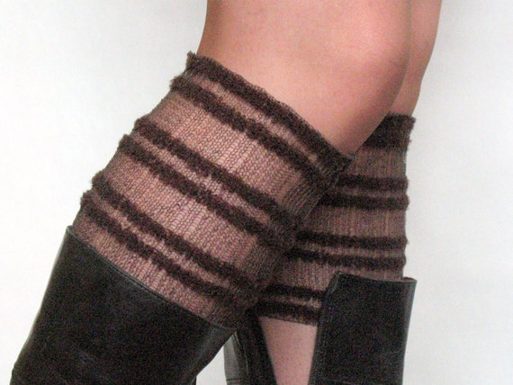 Lace Linen Boot Cuff Boot Toppers Leg Warmers Striped Brown Boot Socks Knit Legwarmers Cable Knitted