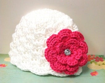 White Emma Hat with hot pink flower
