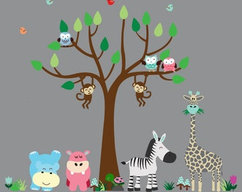 Tree Decal Kids Jungle Fabric Decal, REUSABLE Non-toxic, Eco-friendly Decals, N172