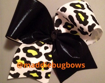 Black & Yellow Cheetah Cheer Bow
