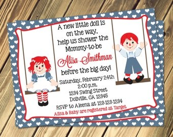 Raggedy Ann & Andy Baby Shower Invitation Print Your Own