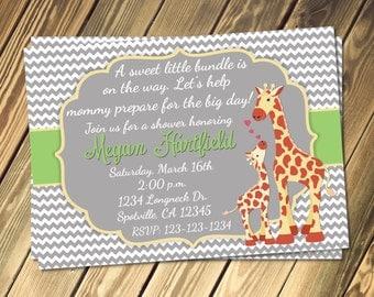 Giraffe Baby Shower Invitation Print Your Own