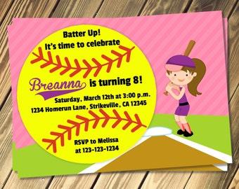 Softball Birthday Invitation Print Your Own