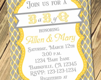 Baby Q Shower Invitation Print Your Own