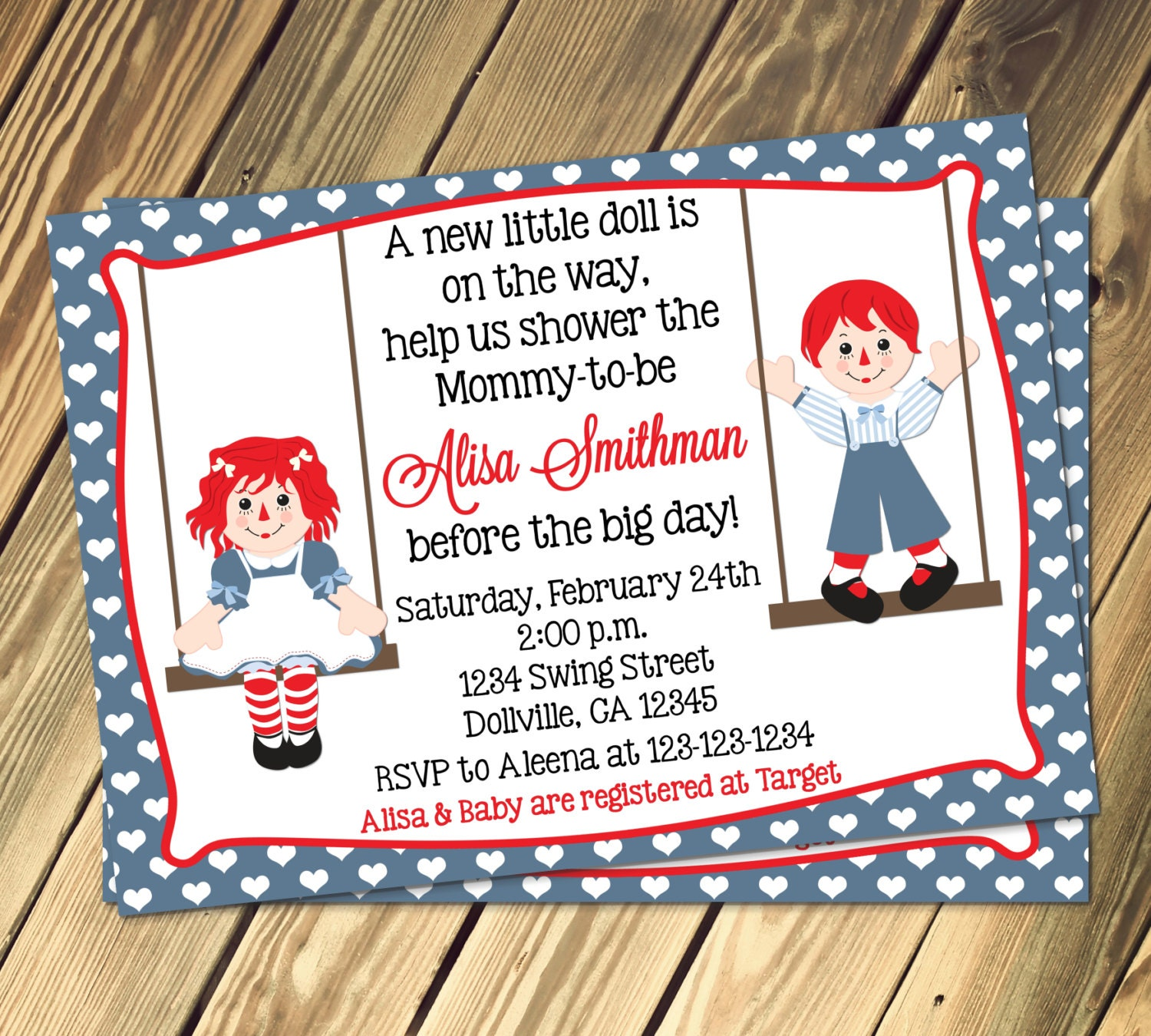 raggedy ann u0026 andy baby shower invitation print your own