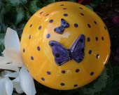 Large Ceramic Garden Mushroom Bright Yellow Glaze with Purple Butterflies and dots
