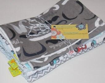 Absorbent burp cloth set.  Three pack of little boy burp cloths.