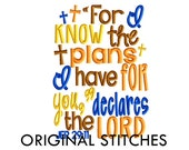 SALE - Jeremiah 29:11 Bible Verse Embroidery Digital Design File 5x7 6x10